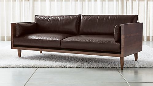 Sherwood Leather 2 Seat Exposed Wood Frame Sofa