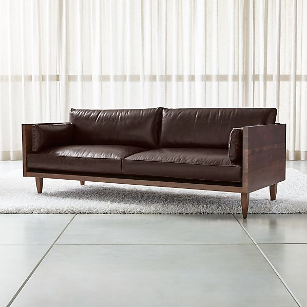 Sherwood Leather 2 Seat Exposed Wood Frame Sofa Crate And Barrel