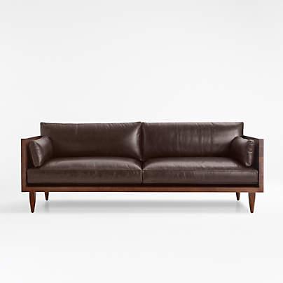 View testSherwood Leather 2-Seat Exposed Wood Frame Sofa