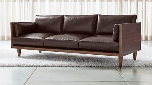 Incroyable Sherwood Leather 3 Seat Exposed Wood Frame Sofa