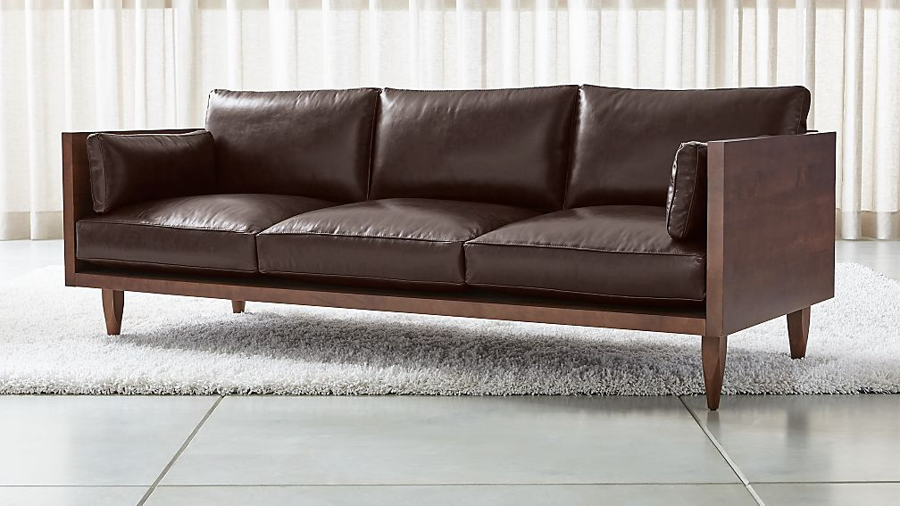 Sherwood Leather 3-Seat Exposed Wood Frame Sofa + Reviews | Crate and Barrel