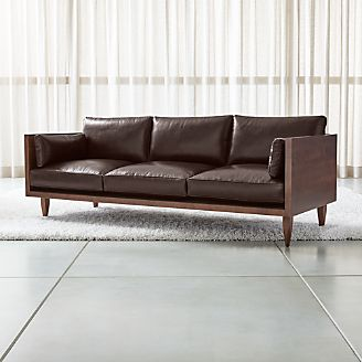 Sherwood Leather 3 Seat Exposed Wood Frame Sofa
