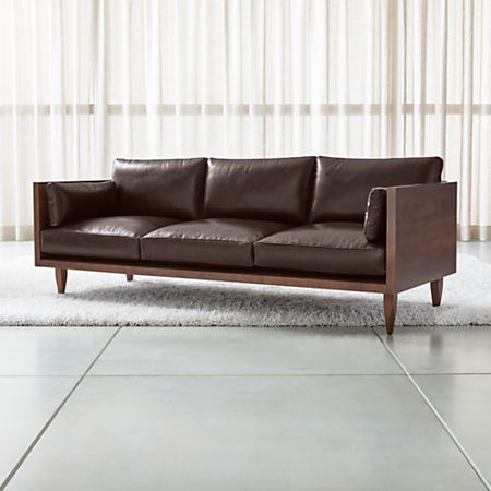 Leather 3 Seat Exposed Wood Frame Sofa