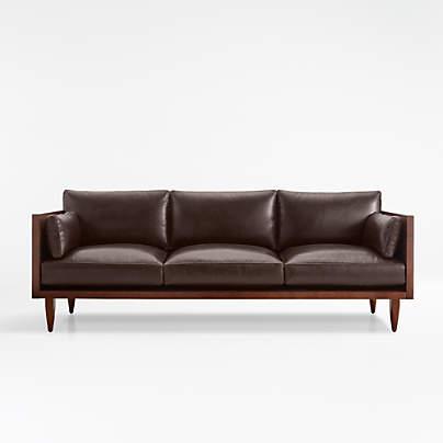 View testSherwood Leather 3-Seat Exposed Wood Frame Sofa