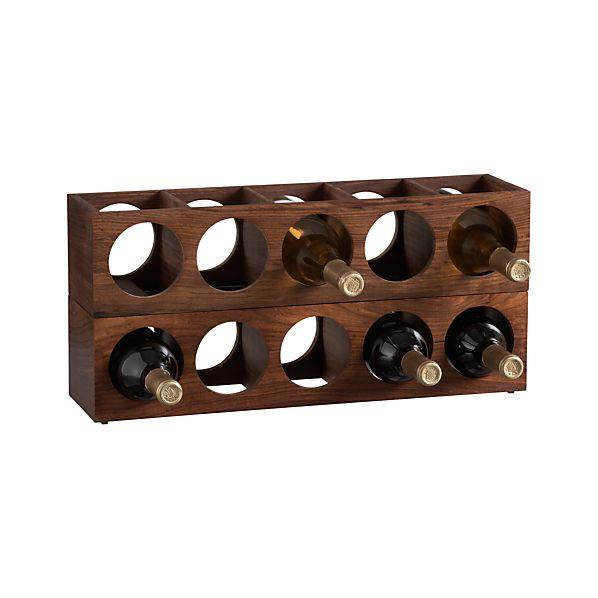 Set of 2 Shesham Wall Mount-Stacking Wine Racks
