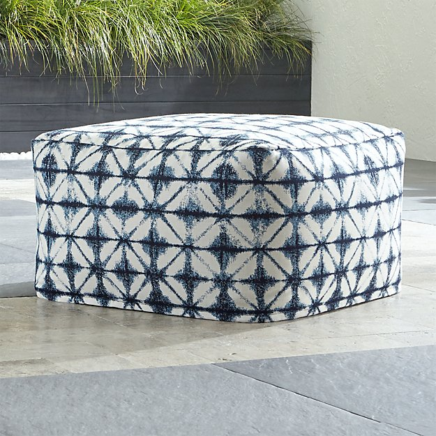Sunbrella shibori navy outdoor pouf in poufs reviews for Crate and barrel pouf
