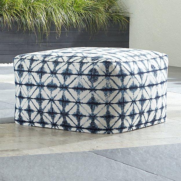 sunbrella shibori navy outdoor pouf in poufs reviews crate and barrel. Black Bedroom Furniture Sets. Home Design Ideas