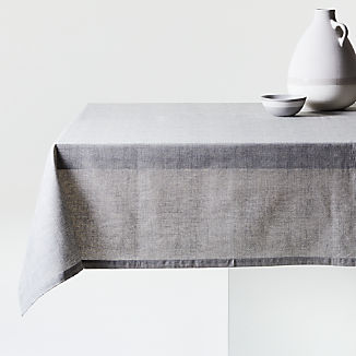 "Shiloh 60""x90"" Grey Easy-Care Tablecloth"