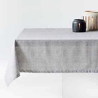 "Shiloh 60""x90"" Stone Easy-Care Tablecloth"