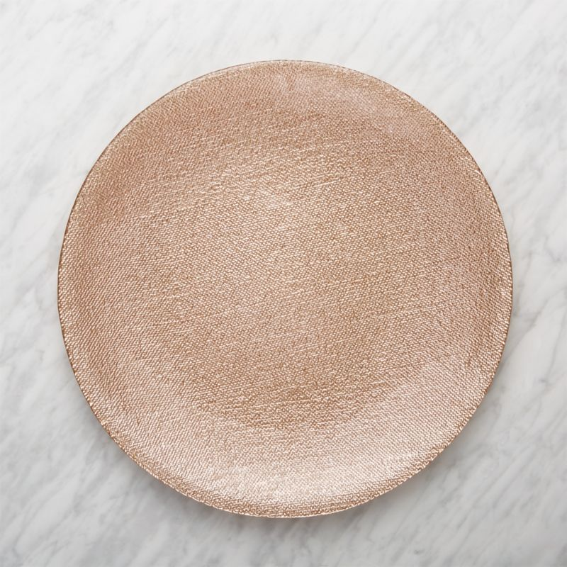 Shimmer Rose Gold Glass Platter-Charger Plate & Christmas Dishes and Table Decorations | Crate and Barrel