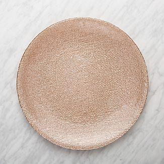 Shimmer Rose Gold Glass Platter-Charger Plate