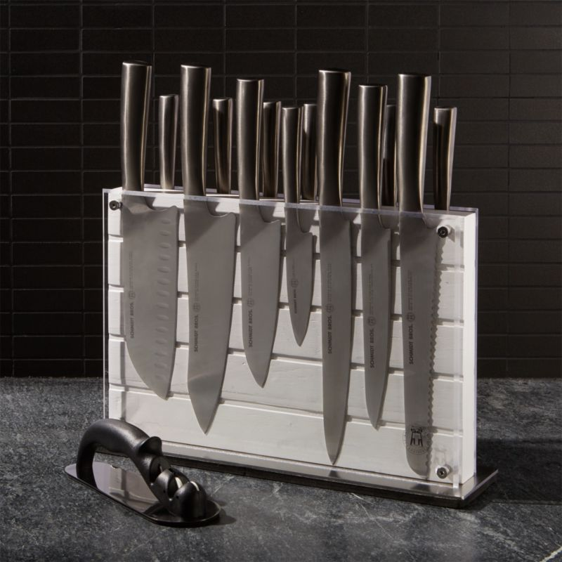 Schmidt Brothers White Shiplap 15 Piece Knife Block Set
