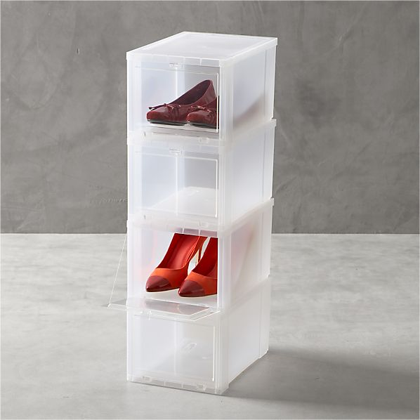 Set of 4 Small Clear Shoe Boxes