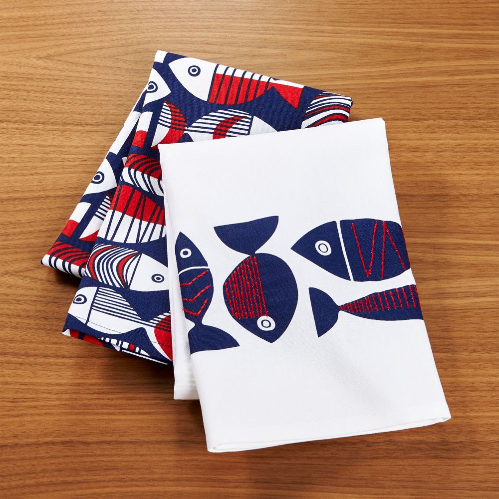 Shore Dish Towels Set of Two - Crate and Barrel