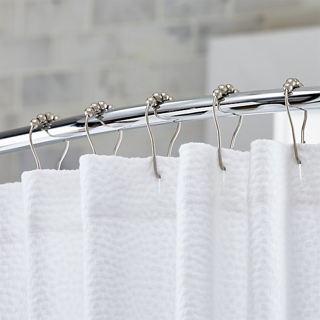 Set of 12 Matte Shower Curtain Roller Rings