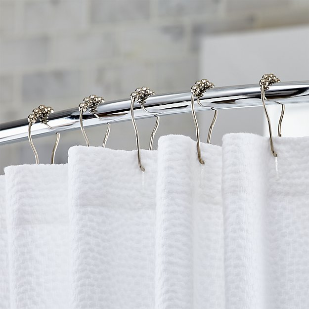 set of 12 polished nickel shower curtain roller rings | crate and
