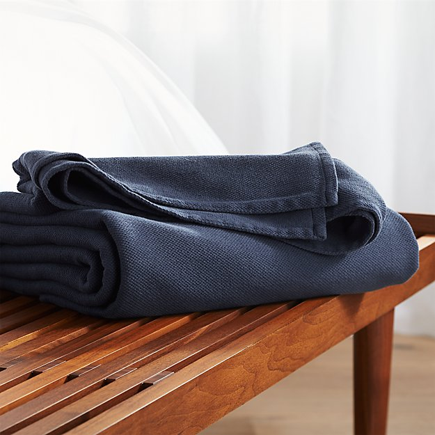 Siesta Navy Blue Blanket Crate And Barrel