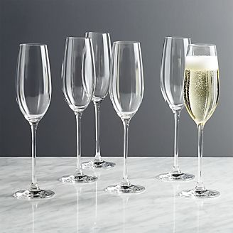 Black and White Collection 8 oz. Champagne Glasses, Set of 6