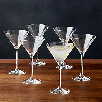 Black and White Collection 8 oz. Martini Glasses, Set of 6
