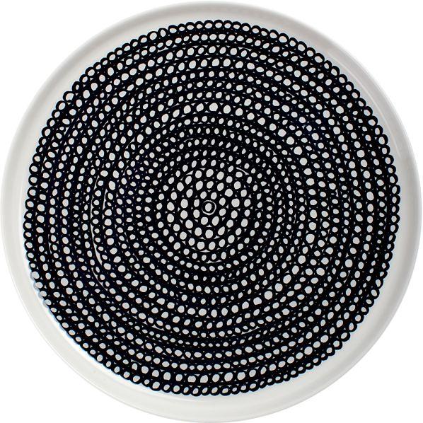 """Marimekko Siirtolapuutarha Black and White 8"""" Plate"""