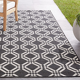 Silas Indoor/Outdoor Black Trellis Rug