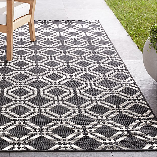 Silas Indoor/Outdoor Black Trellis Rug - Image 1 of 5