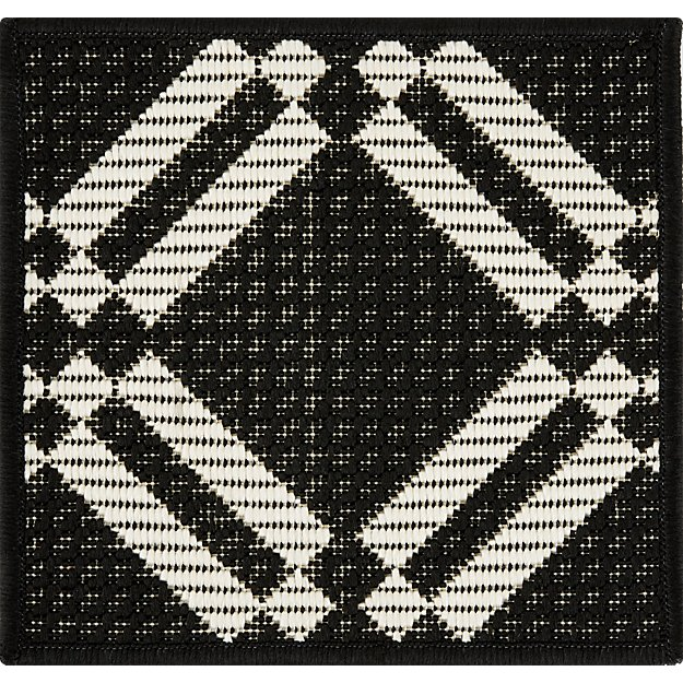 Silas Indoor/Outdoor Black Trellis Rug Swatch - Image 1 of 5