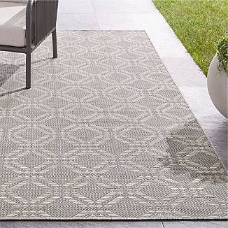Silas Indoor/Outdoor Grey Trellis Rug