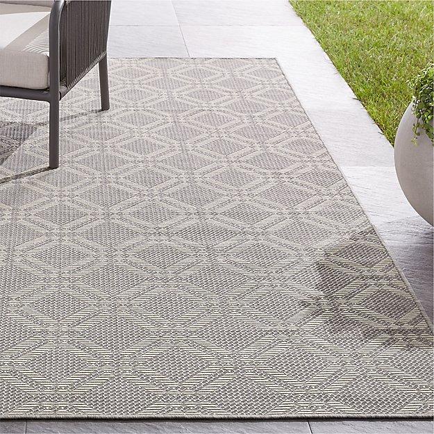 Silas Indoor/Outdoor Grey Trellis Rug - Image 1 of 3