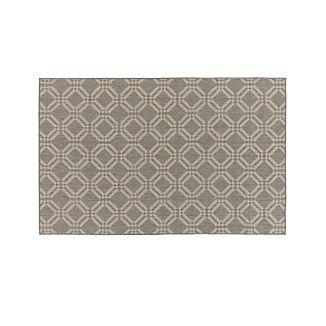 Silas Indoor/Outdoor Grey Trellis Rug 5'x8'