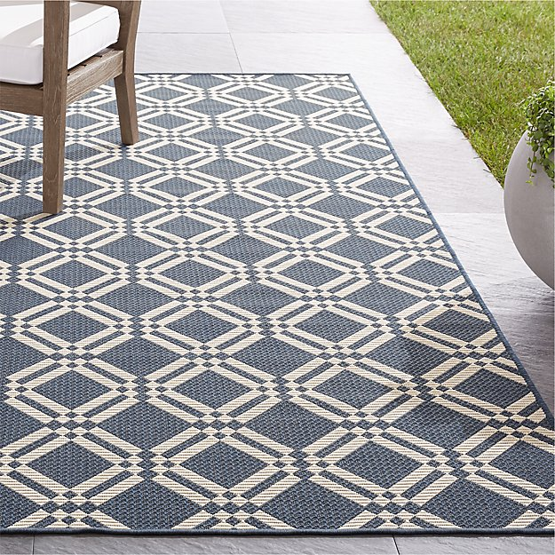 Silas Indoor/Outdoor Indigo Trellis Rug - Image 1 of 4