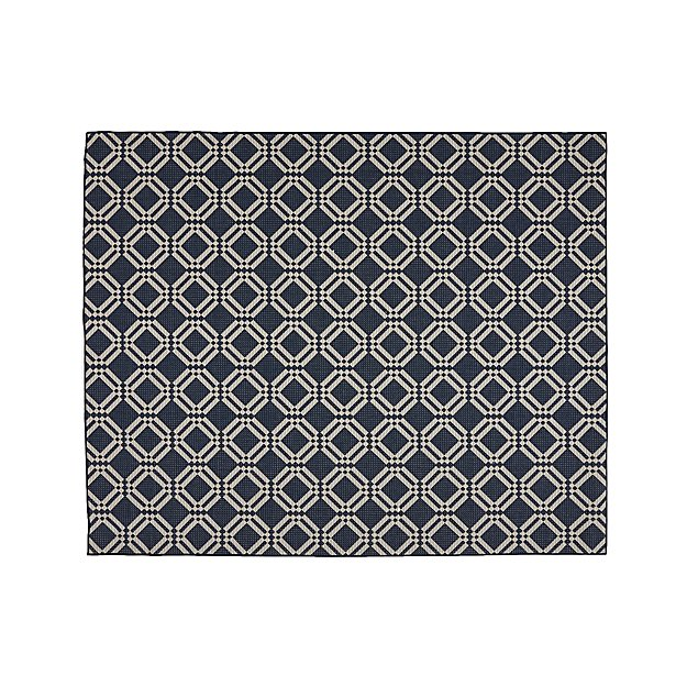 Silas Indoor/Outdoor Indigo Trellis Rug 8'x10' - Image 1 of 4