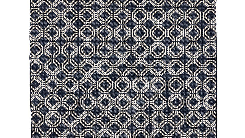 Silas Indoor/Outdoor Indigo Trellis Rug 8'x10' - Image 1 of 4