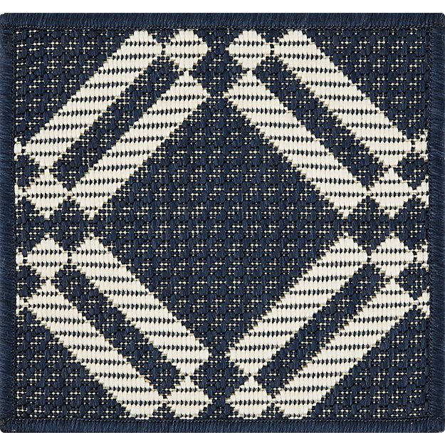Silas Indoor/Outdoor Indigo Trellis Rug Swatch - Image 1 of 3