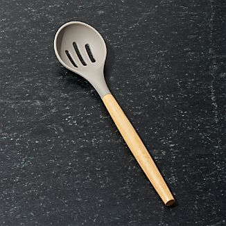 Silicone Slotted Spoon with Bamboo Handle