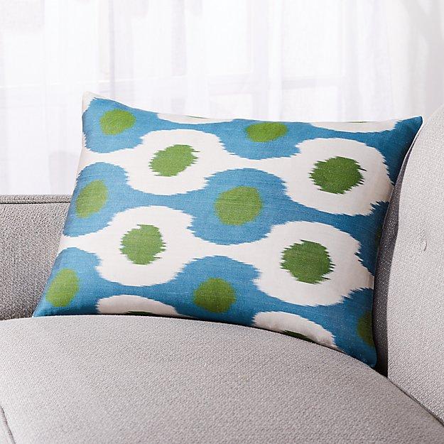 """Silk Ikat Pillow Blue/Green Dot 22""""x15"""" - Image 1 of 2"""