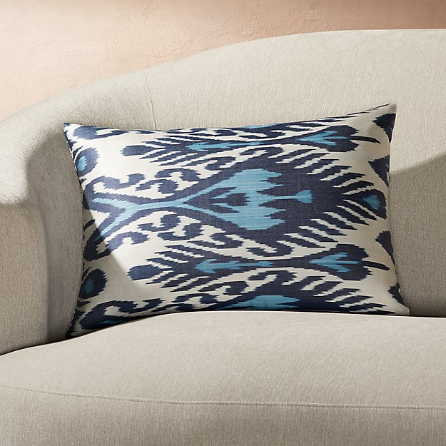 "Silk Ikat Pillow Blue/Ivory 22""x15"" - Image 1 of 2"