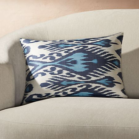 Swell Silk Ikat Pillow Blue Ivory 22X15 Crate And Barrel Ibusinesslaw Wood Chair Design Ideas Ibusinesslaworg