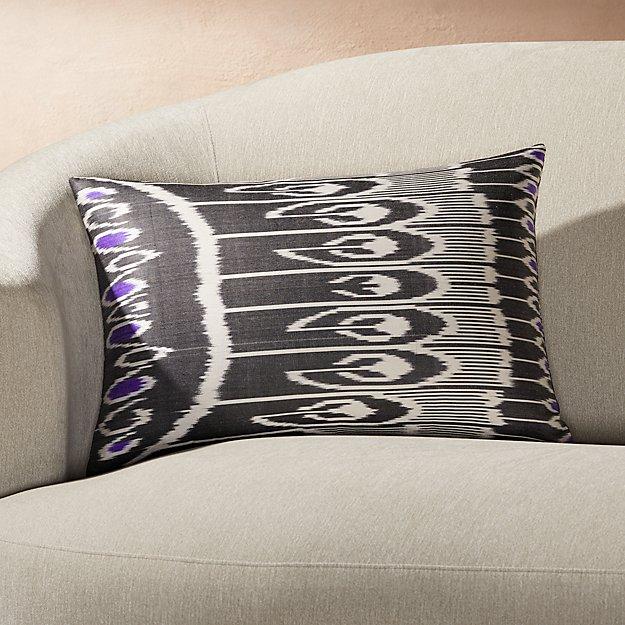 "Silk Ikat Pillow Black Multi 22""x15"" - Image 1 of 2"