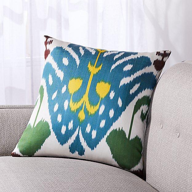"""Silk Ikat Pillow Blue Arrow 20"""" - Image 1 of 3"""