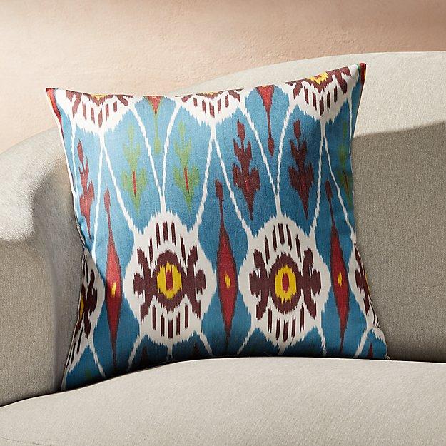 "Silk Ikat Pillow Blue Multi 20"" - Image 1 of 3"