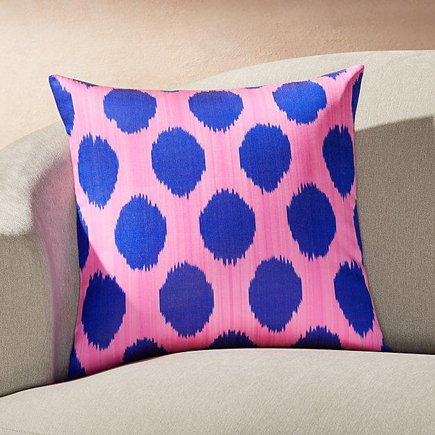 """Silk Ikat Pillow Blue/Pink 20"""" - Image 1 of 2"""