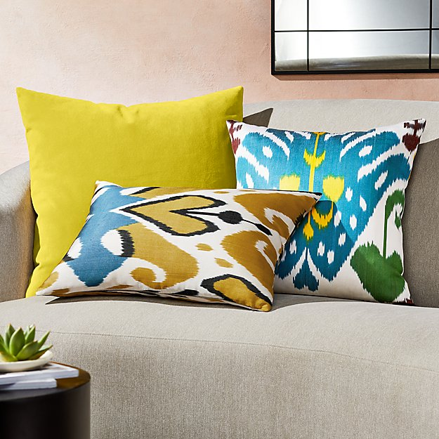 Silk Ikat Yellow Pillow Arrangement - Image 1 of 1