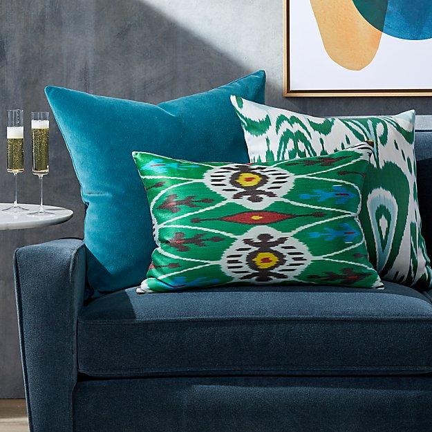 Silk Ikat Green Pillow Arrangement - Image 1 of 1