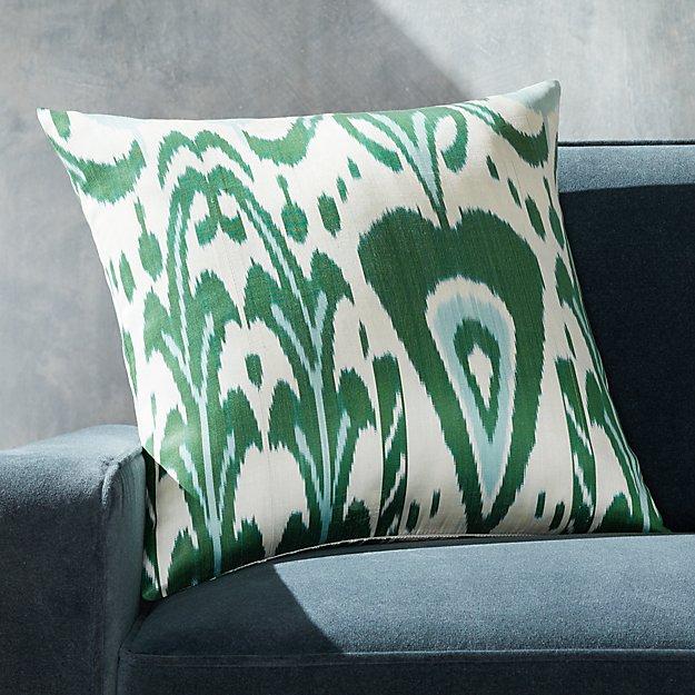 "Silk Ikat Pillow Green/Ivory 20"" - Image 1 of 3"