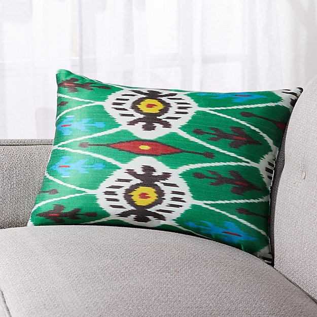 """Silk Ikat Pillow Green Multi with Feather-Down Insert 22""""x15"""" - Image 1 of 6"""