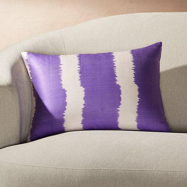 "Silk Ikat Pillow Purple Stripe 22""x15"" - Image 1 of 2"