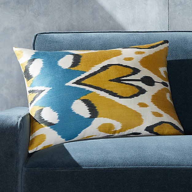 "Silk Ikat Pillow Yellow/Blue 22""x15"" - Image 1 of 4"