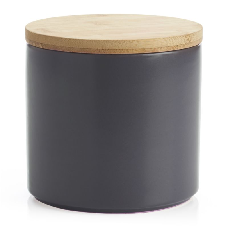Clean, contemporary styling in durable stoneware, warmed by a brushed nickel glaze and natural bamboo lid. Silicone lid gasket forms a tight seal, locking in freshness and locking out moisture. Stackable canisters store staples in style on the countertop or pantry.<br /><br /><NEWTAG/><ul><li>Stoneware</li><li>Matte glaze finish</li><li>Bamboo lid with silicone gasket</li><li>BPA-free</li><li>Canister is dishwasher-safe</li><li>Hand wash the bamboo lid</li><li>Bamboo lid will darken over time</li><li>Made in China</li></ul>