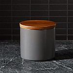 Silo Steel Grey 32 Oz. Wood Lid Canister Steel